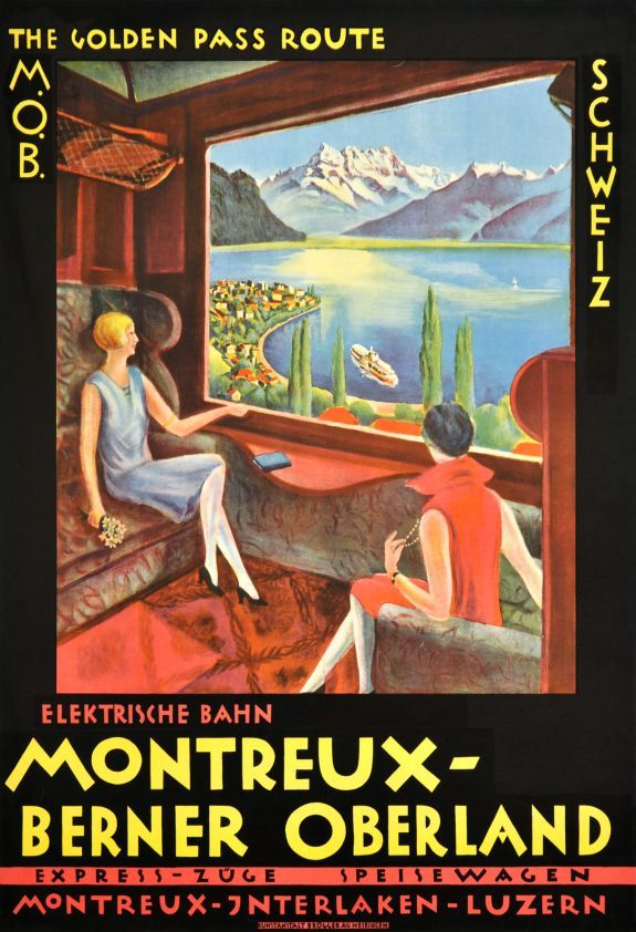 "M.O.B. The Golden Pass Route - Schweiz / 1922. Two ladies sitting in a confortable cabin of the MOB. The ""Montreux-Bernese Oberland Railway"" goes from Montreux, through the Golden Pass, to the Bernese Oberland, Gstaad, Interlaken and the Jungfrau. By the window, over the Lake of Geneva, you can see the ""Dents du Midi"" mountains. A classic Swiss art deco poster."