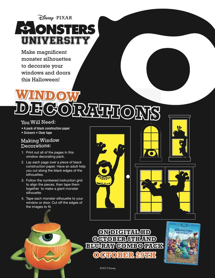 Get your home ready for Halloween with these #MonstersUniversity Halloween Window Decorations.