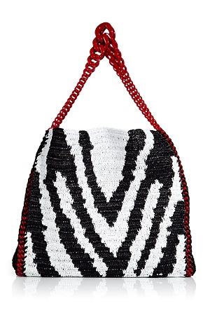 Black/White Zebra Print Woven Straw Bag