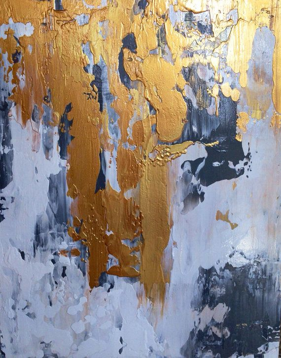 Abstract Painting Gold White and Grey 11x14