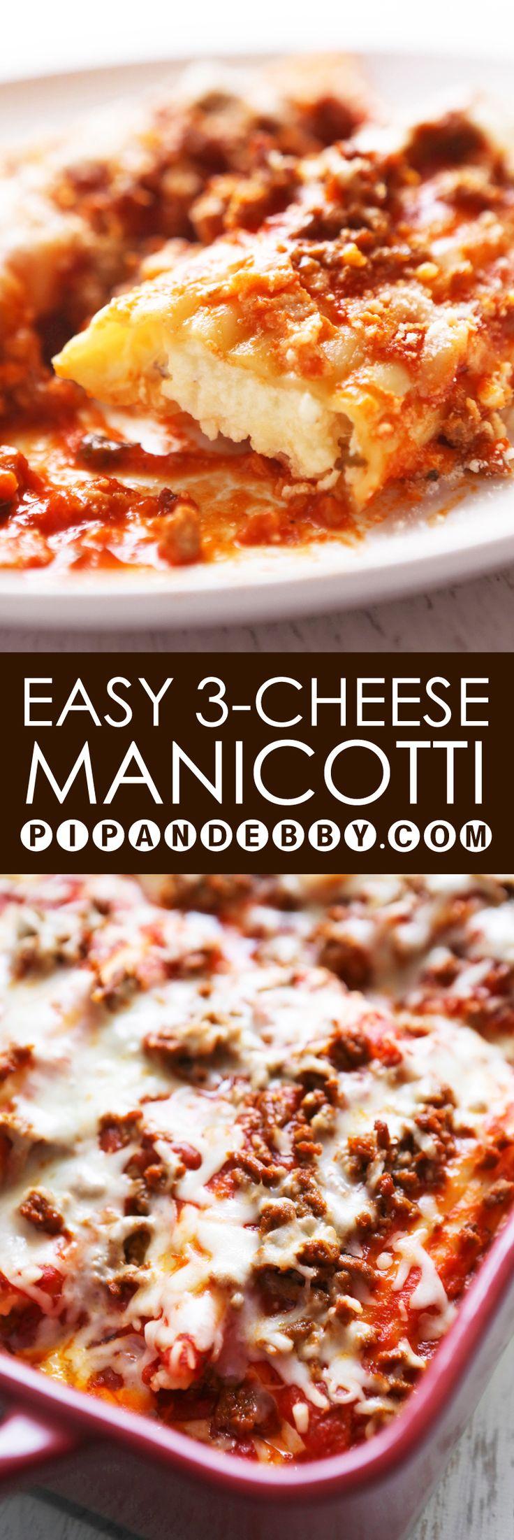 Easy Three-Cheese Manicotti   Three gooey cheeses in this EASY pasta dinner!