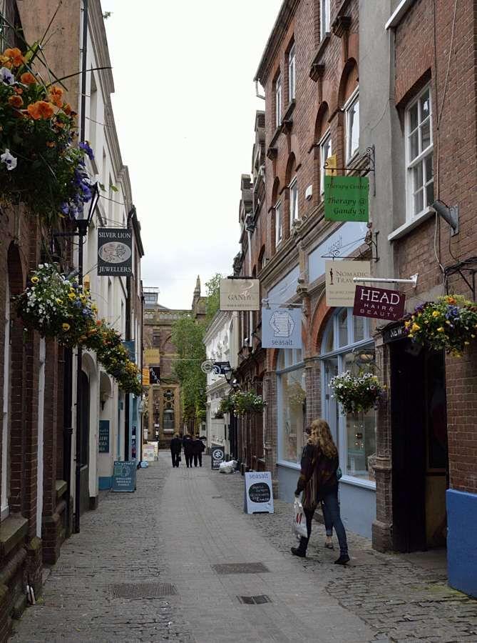 Shopping street in Exeter city centre,Devon