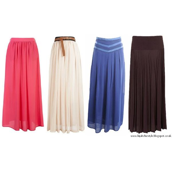 Hijab Chic Style: Plain maxi skirts via Polyvore