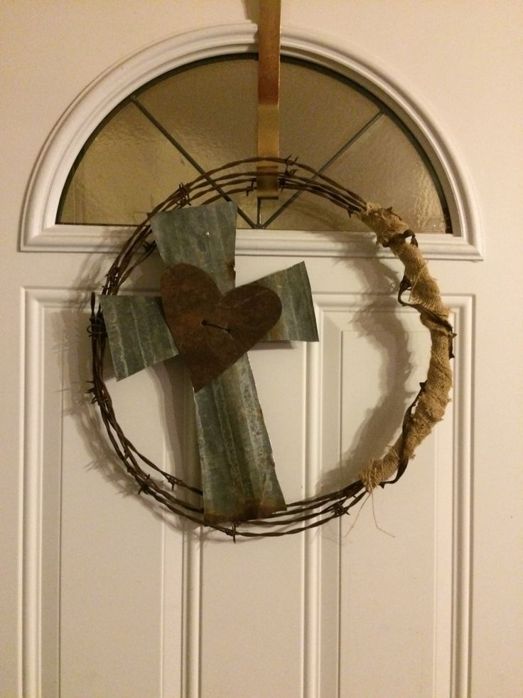 Barbed Wire Wreath with Tin Cross and Heart