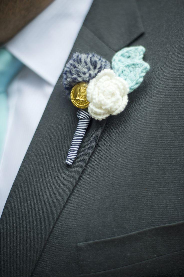 Crochet buttonhole flower pom pom button groom wedding
