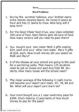 5th Grade Math Word Problems. Grade 5 word problems