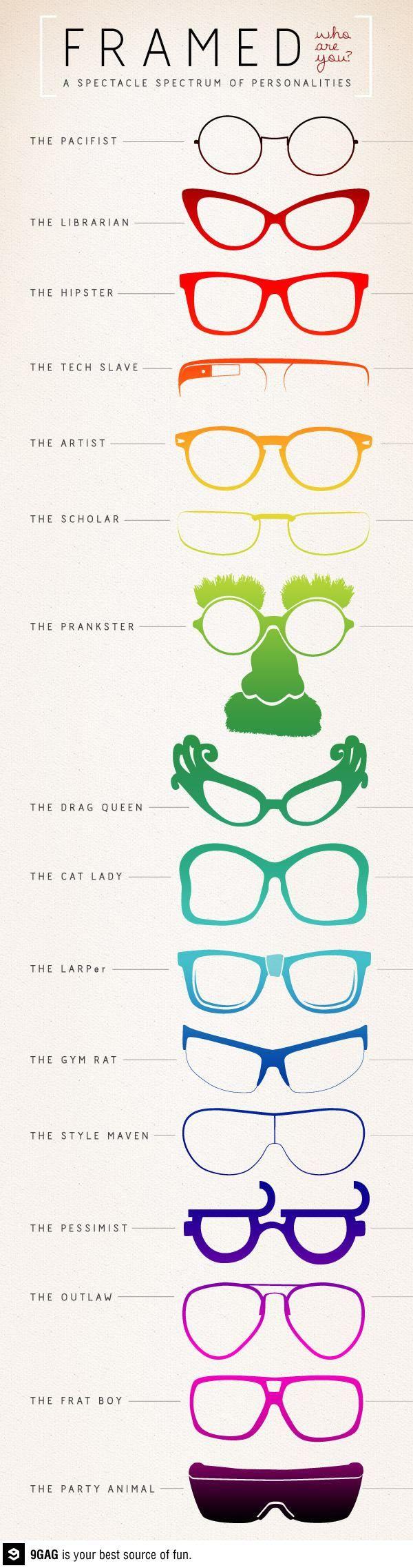 A spectacle spectrum of personalities. La personalidad de las gafas...
