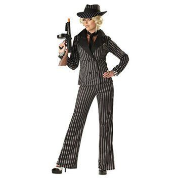 California Costumes Women's Gangster Lady Costume, Black/White, Small