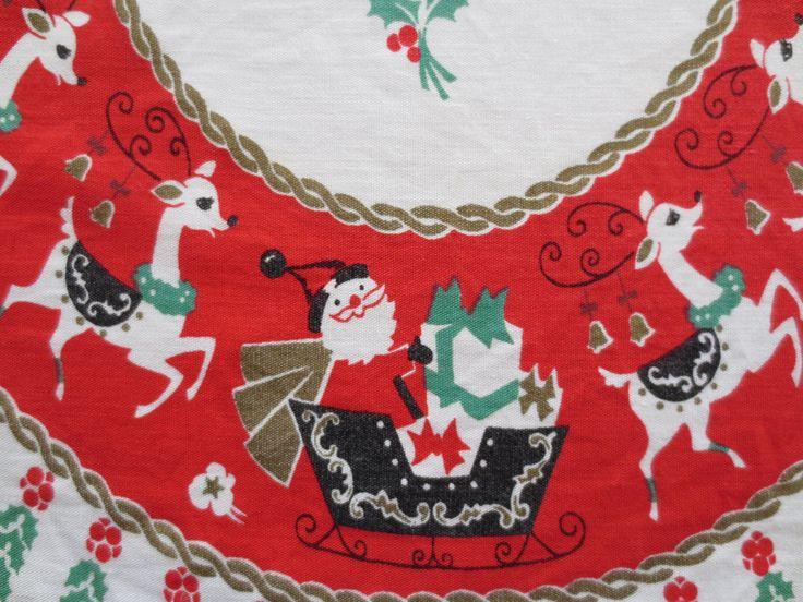 Vintage Christmas Runner, Midcentury Runner with Santa and Reindeer, Eda Maria Design, Christmas Decor.
