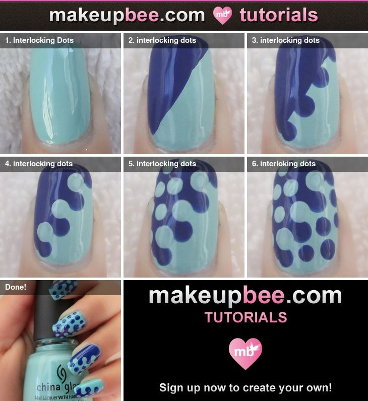Interlocking Dots Nail **TUTORIAL ~ Saw this on Reddit so i came straight to Pinterest to find out how~
