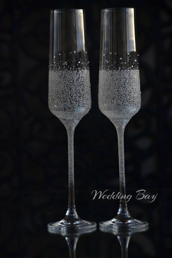 Wedding Champagne Gles Hand Painted Toasting Flutes