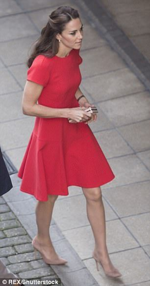 Kate had the Duchess' red pleated dress remade for the bargain price of £102