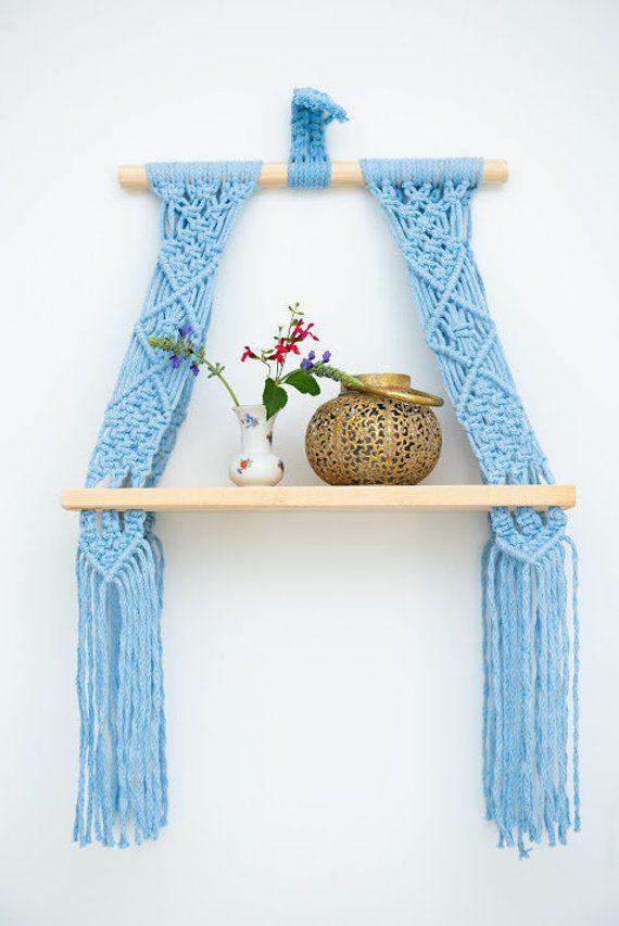 Macrame Wall Hanging Shelf ,Nursery wall Decor, Light blue color Macrame shelf, hanging shelf, Modern Macrame, Handmade Macrame
