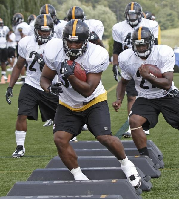 NFL Teams are getting ready for all the NFL betting action.Check out Pittsburgh Steelers running back Isaac Redman, center, leads the rest of the running backs through a drill during practice at the NFL football training camp in Latrobe, Pa. on Saturday, July 28, 2012 .    Visit: http://www.sportsbook.ag/football-betting/NFL/