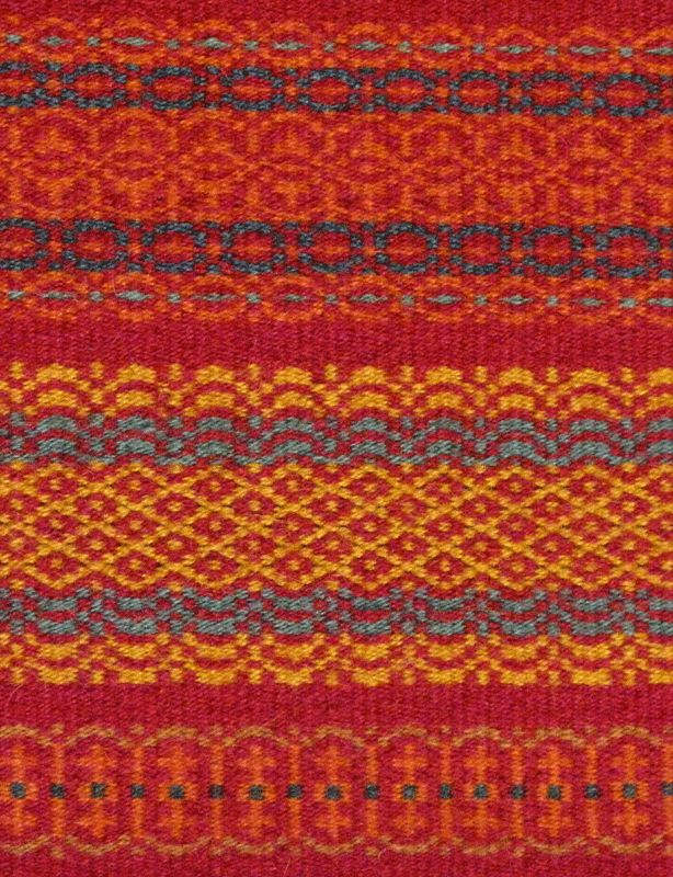 Woven in the Flesberg boundweave technique, a three-shaft krokbragd on rosepath threading, typical of the Flesberg area in Numedal, Norway.