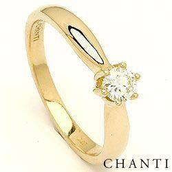 0,20 ct solitario anello in 14 carati oro