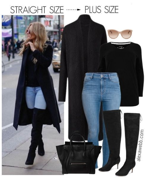 """I found this straight sized outfiton Pinterestand decided to make a plus size version. I couldn't find an exact match for the coat, but I did find this """"coatigan,"""" that has a similar style. If you have a long single-breastedblack coat, that works too. The only thing to consider is the length of the overpiece,… ReadMore"""