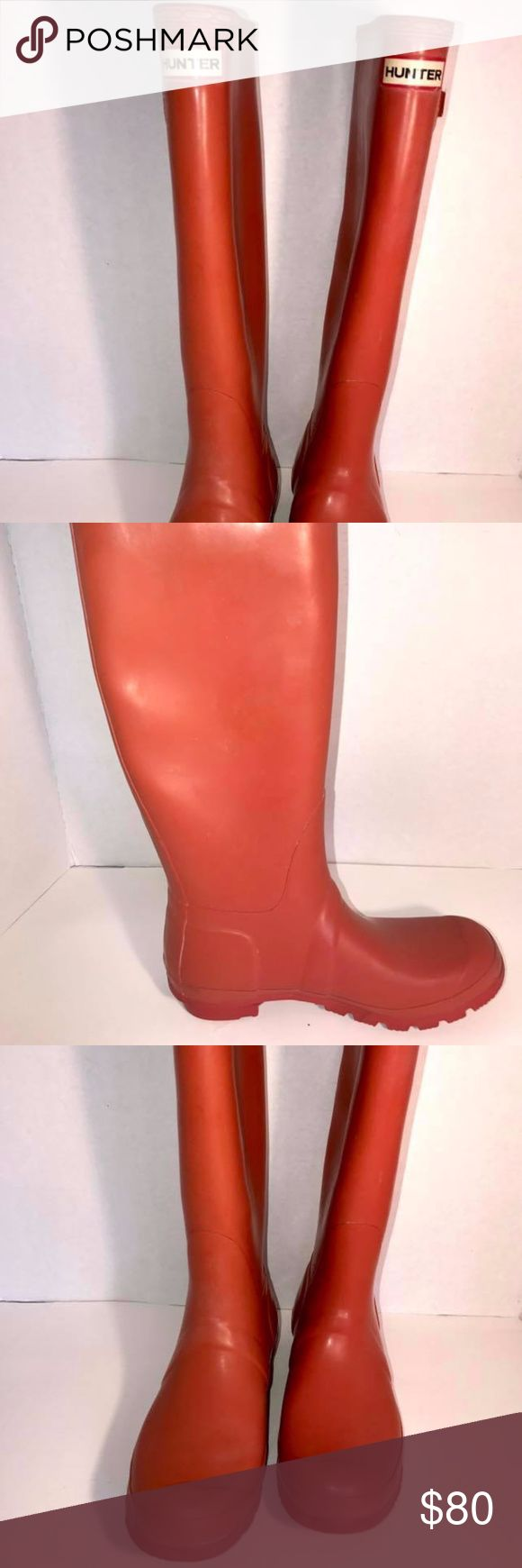 Hunter Tall Rain Boots Orange 7M/8f Hunter Rain Boots   Size M 7 W 8   Burnt Rustic Orange  I forgot Hunter runs big, I bought online and need a smaller size  Thank You!!! Photos may show coloring difference due to lighting  NOTE:   I list for friends as well so items may come from a home with pets or smokers. POLICY:  We strive for a 5 Star rating, if we fail in this task we are happy to accept returns for any discrepancies on our part.           I travel several days out of the month…
