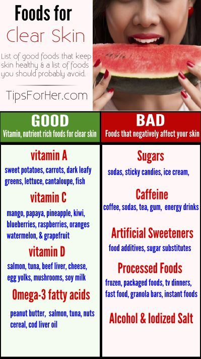 List of good and bad foods for keeping your skin clear & healthy. Certain foods have been known to aggravate acne, causing increased breakouts. Learn which foods to avoid.