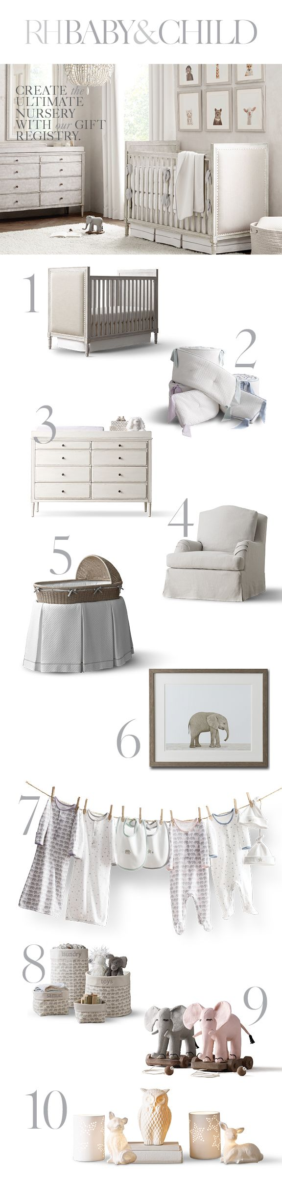From furnishings to accessories, bedding to decor, we've got everything you need to design your dream nursery. Save 25% on everything with the RH Members Program. Create a registry with RH Baby & Child.
