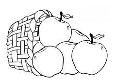 Gambar Mewarnai Buah-buahan Dalam Keranjang