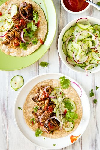 Crockpot Korean beef tacos with cucumber slaw