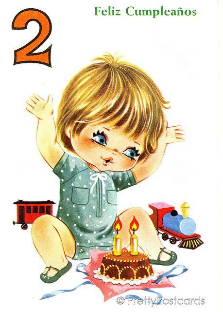 Vintage Birthday Card For A Big Eyed Boy 2 Years Old