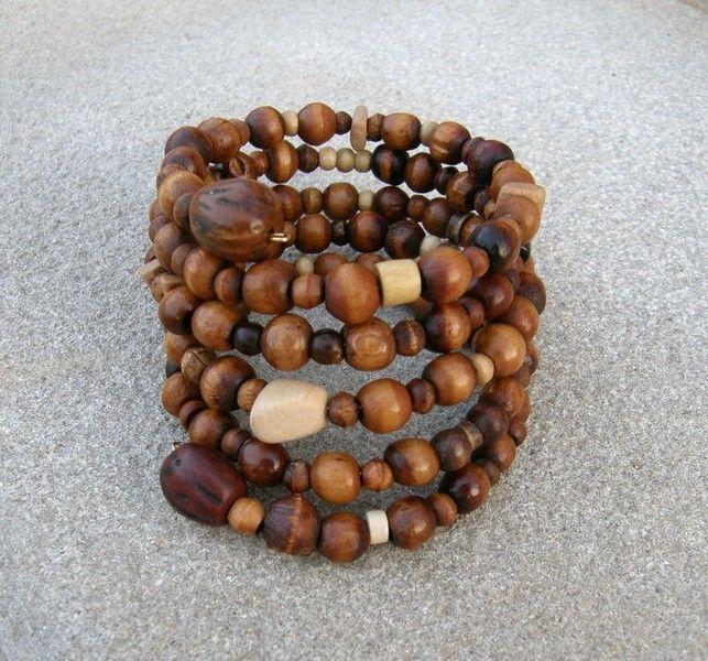 Holzperlenspiralarmband