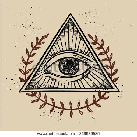 Hand drawn vector illustration - All seeing eye pyramid symbol. Freemason and spiritual. Vintage