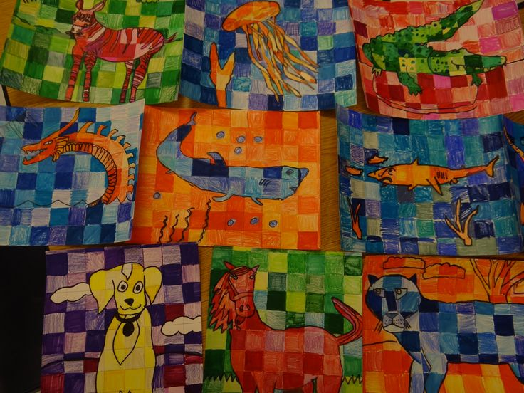 This Is My Mixed Media Complementary Color Project With 4th Grade Very Successful