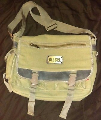 Diesel Brand Spare Parts Messenger Crossbody Bag Canvas Sage Green Designer