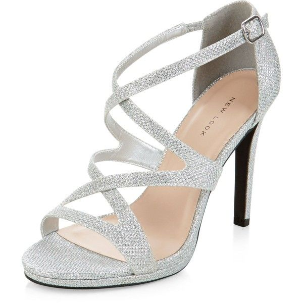 New Look Silver Glitter Strappy Heels (£25) ❤ liked on Polyvore featuring shoes, pumps, heels, silver, high heel court shoes, glitter pumps, silver heel pumps, silver heeled shoes and strap pumps
