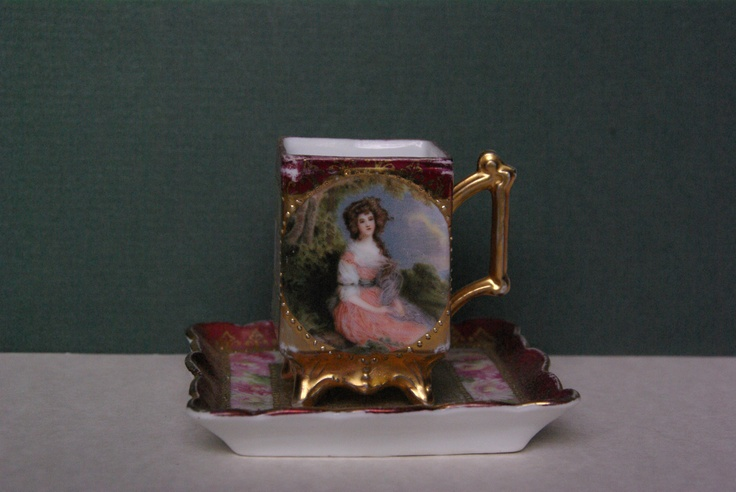 FOOTED ANTIQUE CUP & SAUCER DEMITASSE GILDED & HAND PAINTED CIRCA 1920: