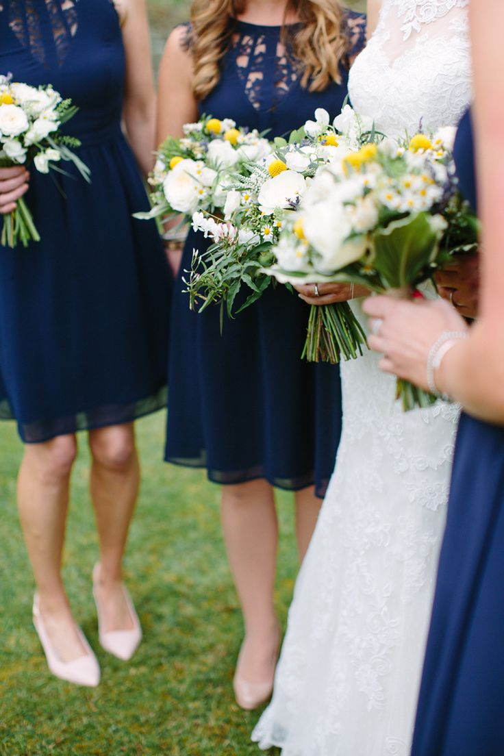 Yellow Craspedia Bouquets Flowers Bridesmaids Navy Dresses Rustic Country Garden Barn Yellow Navy Wedding http://hayleysavagephotography.co.uk/