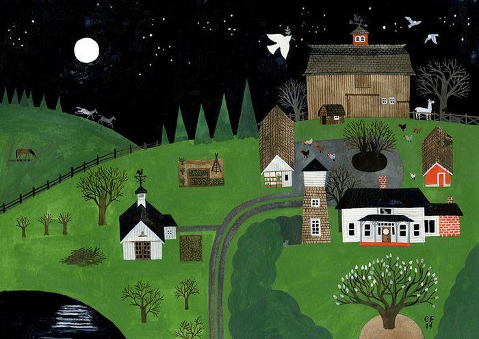 オレゴンのカーソン・エリスの農場の絵