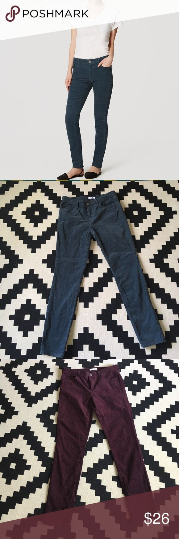 """2 pairs LOFT Modern Skinny cords teal + plum sz 8 Two pairs gently worn LOFT Modern Skinny Corduroys, worn this winter season only (price includes both pairs). Moving to a hot, tropical place for a year and so will not be needing these ;). Both are Size 8 and fit like other LOFT Modern Skinny pants. One is described as """"ripened plum,"""" while the other is described as """"deep pacific teal."""" 98% cotton, 2% elastane. Machine wash. LOFT Pants Skinny"""