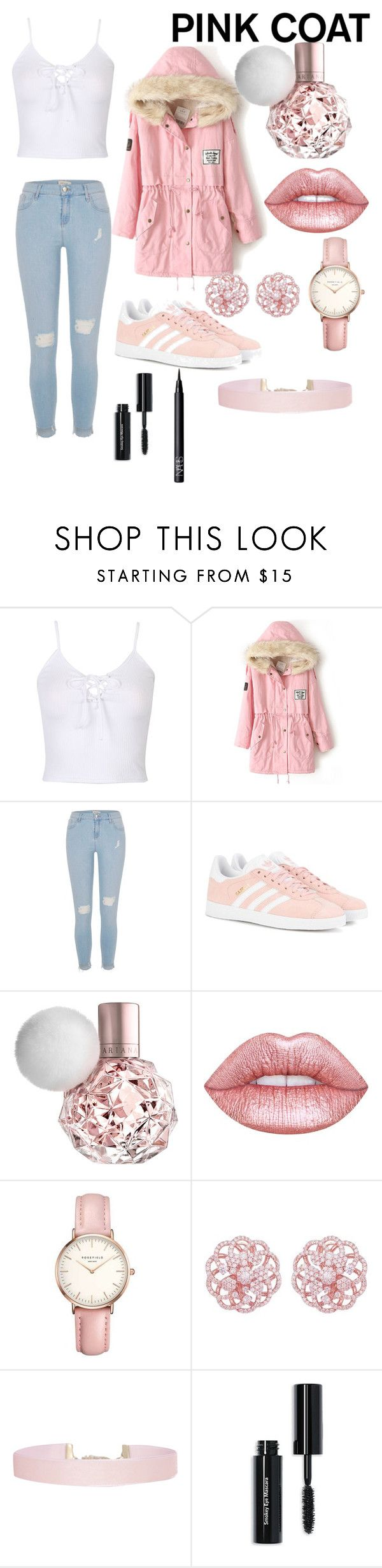 """""""Pink Coat"""" by zaddycellie ❤ liked on Polyvore featuring WithChic, River Island, adidas Originals, Lime Crime, Topshop, Humble Chic, Bobbi Brown Cosmetics and NARS Cosmetics"""