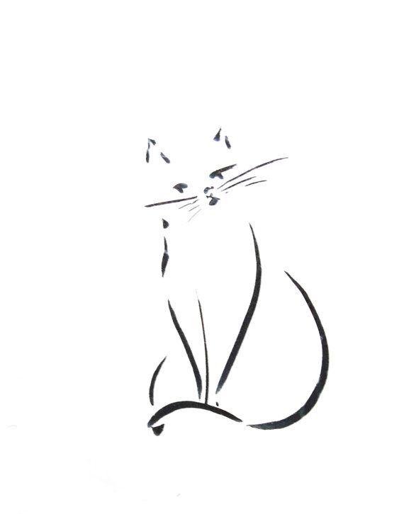 Art Print of Minimalist Cat Ink Drawing Black door CanotStopPrints