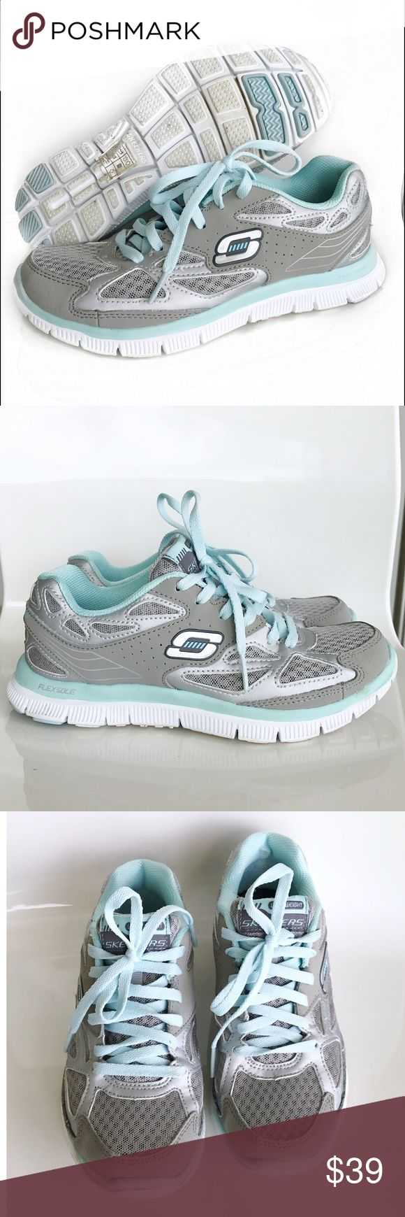 Skechers Flex Sole Gray and Teal Sneakers Skechers Flex Sole Memory Foam Gray and Teal Sneakers! These sneakers are so cute for the gym or running outdoors! Excellent condition. Lightweight. Super comfortable because of memory foam.  Leather synthetic upper. Size 6.5. Skechers Shoes Sneakers