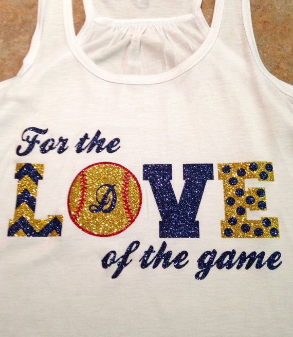 """Custom """"For the Love of the Game"""" Softball or Baseball Flowy Racerback Tank - Multiple Colors and Sports Options on Etsy, $30.00"""