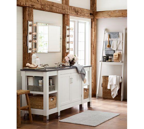 Kensington pivot mirror extra large wide rectangle for Bathroom decor pottery barn