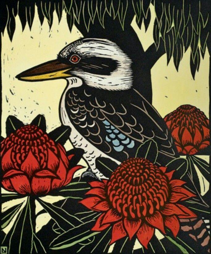 Leslie van der Sluys - kookaburra and warratah