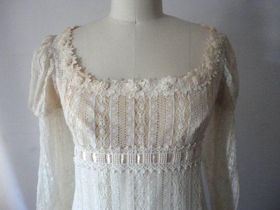 Lace Wedding Dress, Long Ivory Vintage Bridal Gown, Vintage Wedding Dress, Jane Austen Regency Style, Priscilla of Boston, Ladies Size 6-8