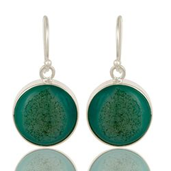 Flotte grønne øreringe i sølv