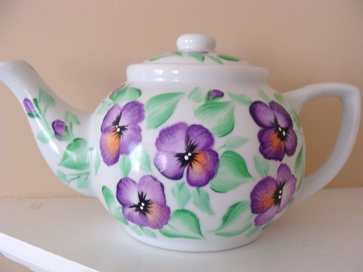 Pansy Teapot hand painted by CANADIANCREATIONZ on Etsy