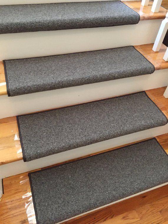 Heathercord Graphite Wool Blend True Bullnose™ Padded Carpet Stair   Wool Carpet Stair Treads   Zealand Wool   Bullnose Padded   Flooring   Plush Carpet   Cat Pet