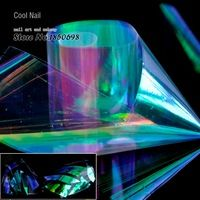 1 Roll Shiny Laser Nail Foils Holographic Foils Nail Art Sticker Decoration Paper Green Purple Rainbow Light cut in pieces YC461