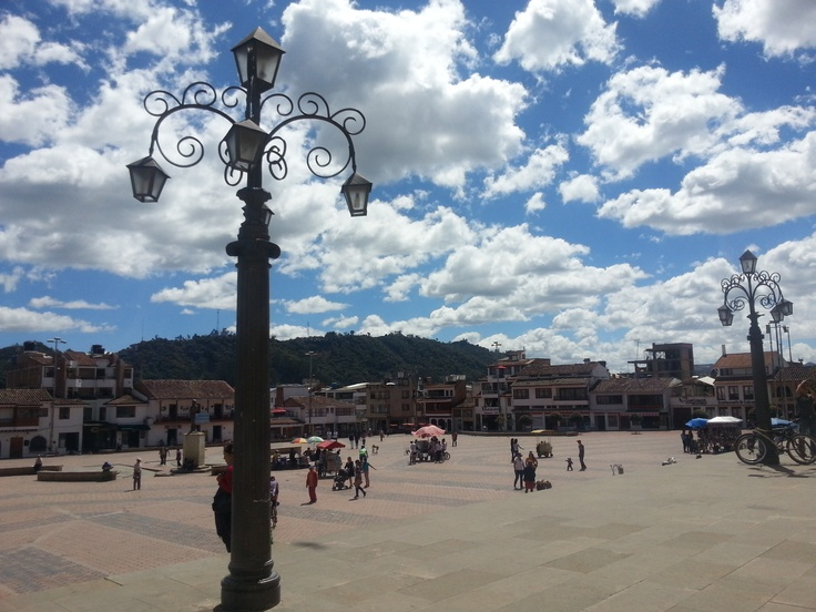Plaza principal Chiquinquira, Boyaca, Colombia.