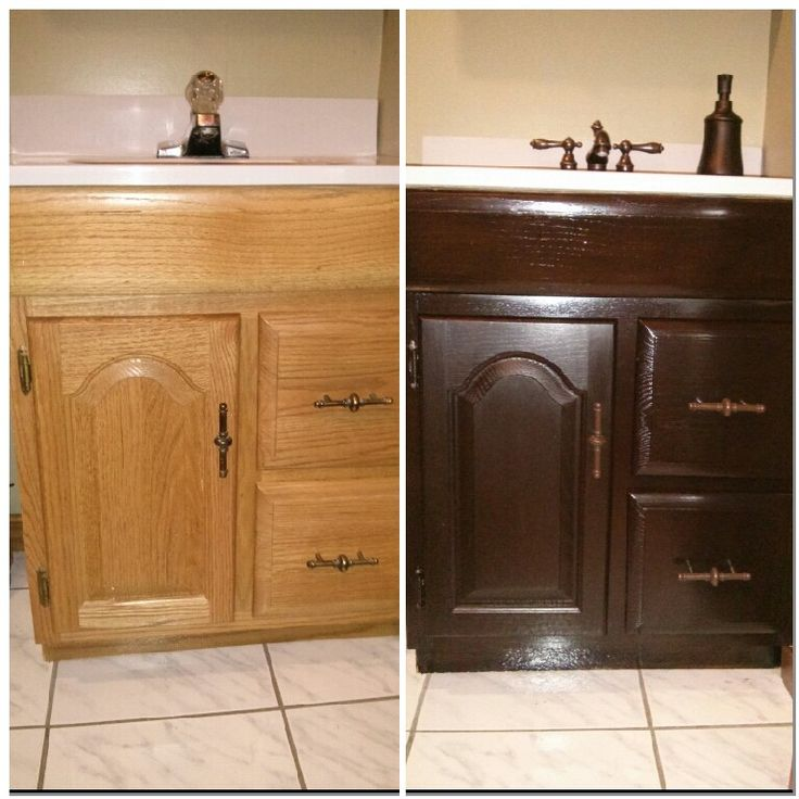 Like New Bathroom Vanity General Finishes Java Gel Stain