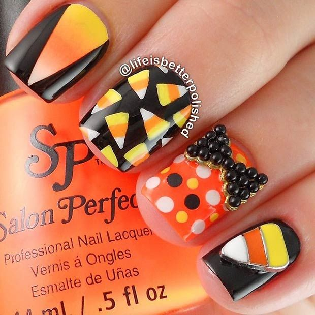 38 best halloween candy corn nail art images on pinterest 35 cute and spooky nail art ideas for halloween prinsesfo Image collections
